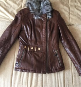 Кожаная куртка, утеплённая