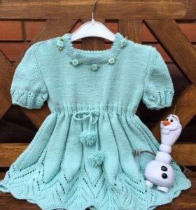 Платье вязаное спицами для девочки