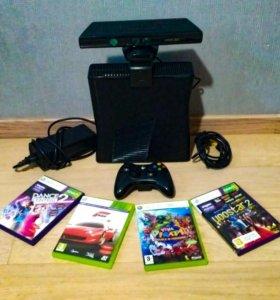 Xbox 360 slim 324gb, kinect, 4 игры