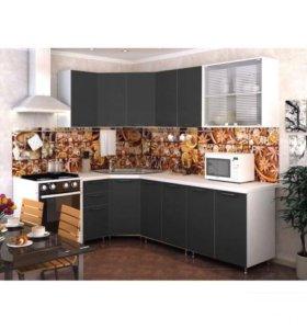 Кухня 3,7 м Радуга черная (Базовая модель 2,0м)