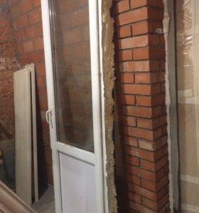 2 пластиковых окна и дверь