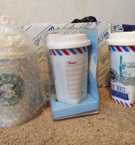 Керамические стаканы для кофе и копилка