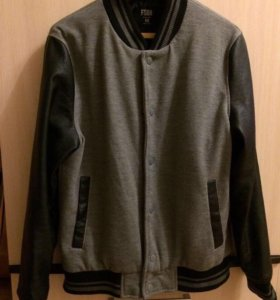 Мужская кофта Бомбер с кожаными рукавами