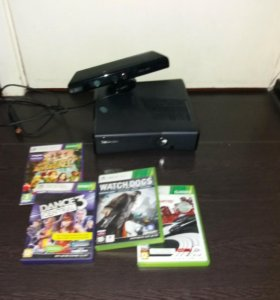 Xbox 360 250gb + kinect + 4 диска