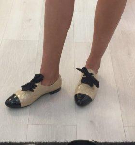 Новые ботинки туфли Prada оригинал лаковые бежевые