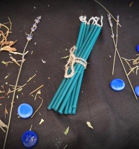 Голубая свеча восковая. 1 час