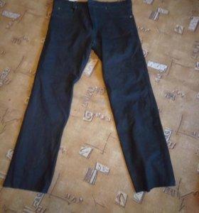 Джинсы кожаные черные