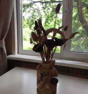Ваза декоративная с сухоцветами