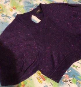 кофта фиолетовая с блёстками 34 размер