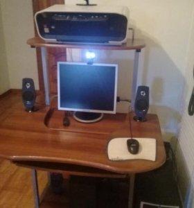 Компьютер+Стол+Аудиосистема 5.1+Принтер+Вебка