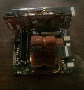 Комплект мат плата - процессор -оператива - видеок