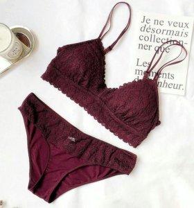 Модный Винный Комплект Лифчик+Трусы