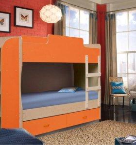 Кровать 2-х ярусная (новая)оранжевая