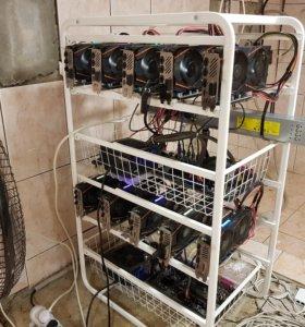 Ферма из двух пк на 10 карт RX480 4Gb 300Mhs