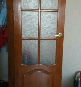 Дверь 80см деревянная (массив сосны)
