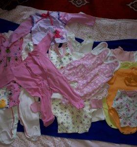 Вещи на девочку 0-8 месяцев