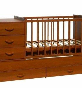 Детская кровать(трансформер) с матрасом от 0 до 12