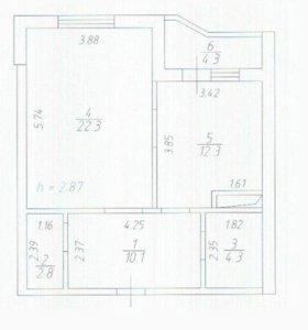 Квартира, 1 комната, 51.8 м²