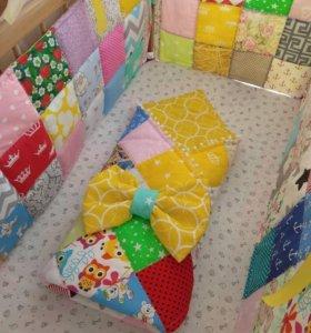Бортики в кроватку и одеяло