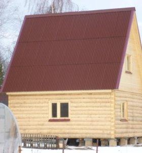 Сруб бани с мансардной крышей