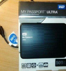 """Внешний диск 2.5"""" WD My Passport Ultra 500 Гб"""