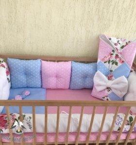 Бортики-подушки, валик-конфетка, одеяло-конверт