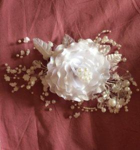 Свадебный зажим ветка-цветок