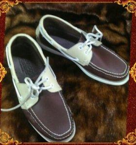 Кожаные мокасины- туфли. Размер 39