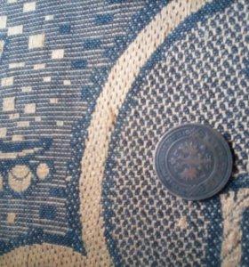 Медная монета 3 копейки 1901г