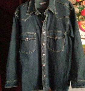 Джинсовая  мужская рубашка.