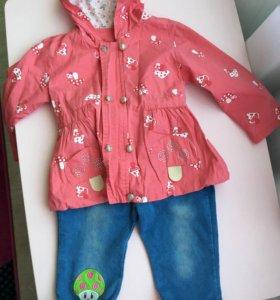 Плащ и джинсы на девочку