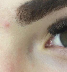 Наращивание ресниц( моделирование бровей) макияж