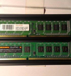 Память Qumo DDR3, 4гб, PC3-12800, 1600мгц