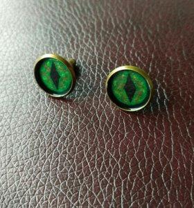 """Серьги """"Глаза"""". Зелёные"""