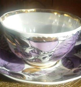 Чашка с блюдцем. Чайная пара. ЛФЗ. Тюльпан.
