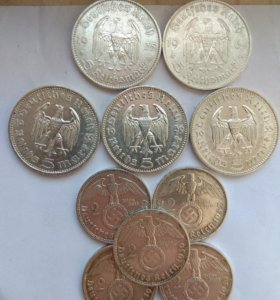 Серебряные Монеты Третьего рейха 5 и 2 марки