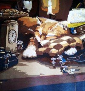"""Ручная работа. Картина """" Спящий кот""""."""