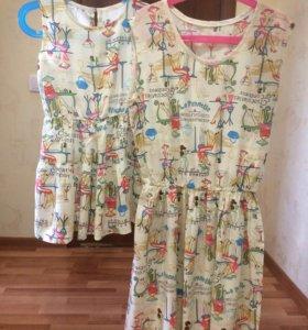 Платье мама-дочка или сестрички 42-44 и 2,5-4 года