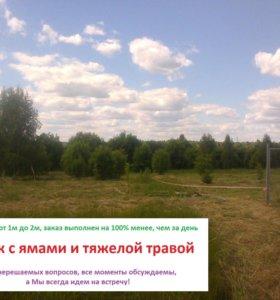 Покос травы бензотриммером