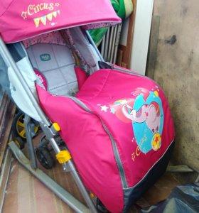 Санки-коляска ника детям 7, Конверт зимний, муфта