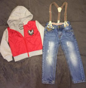 Бомбер и джинсы 86-92