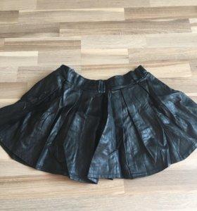 Кожанная юбка-шорты