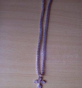 Серебряные цепь и крест