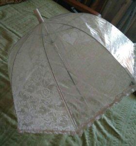 Зонт белый с кружевом прозрачный
