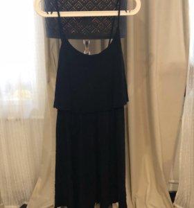 Платье на бретелях hm чёрное хлопок стрейч
