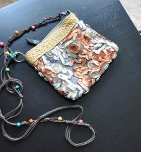 Сумочки из ткани на длинном ремешке (2 шт.)