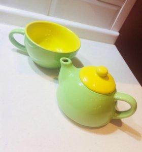Чашка с заварным чайником