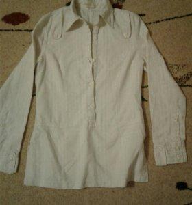 Рубашка женская, удлиненная, льняная,44 размер