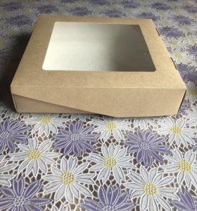 Крафт упаковка размер 20х20 см, глубина 4,5 см