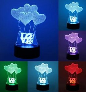 """Отличный подарок для любимой 3D лампа """"LOVE"""""""